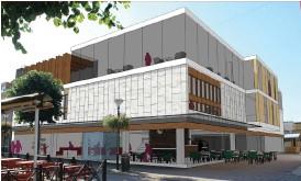 ?? Bild: CONTEKTON ARKITEKTER FYRSTAD AB ?? VISION. Idéskissen visar en vision av hur Timjanhuset kan komma att se ut i framtiden om biblioteket flyttar dit.
