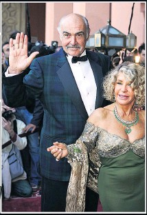 ??  ?? GREAT SCOT Sir Sean proudly donned a tartan tuxedo to attend movie premiere with his beloved wife Micheline