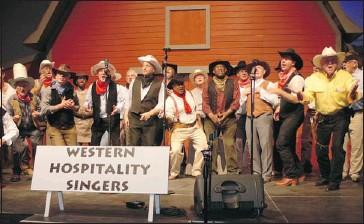 "?? Courtesy, Western Hospitality Singers ?? The Western Hospitality Singers in action — the fun-loving group describes itself as a ""big barbershop quartet."""