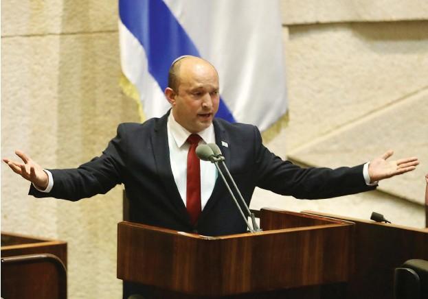 ?? (Marc Israel Sellem/The Jerusalem Post) ?? PRIME MINISTER Naftali Bennett speaks in the Knesset this week.