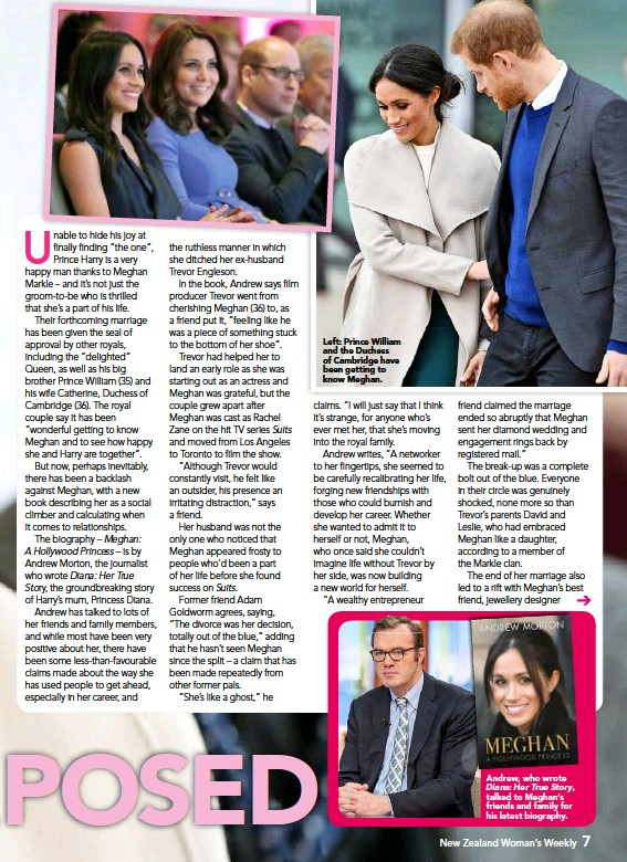 ??  ?? Left: Prince William and the Duchess of Cambridge have been getting to know Meghan. Andrew, who wrote Diana: Her True Story, talked to Meghan's friends and family for his latest biography.