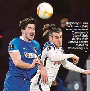 ?? EPA PIC ?? Wolfsberg's Luka Lochoshvili (left) in action against Tottenham's Gareth Bale during their Europa League match on Wednesday.