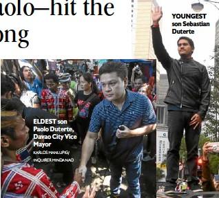 ?? KARLOS MANLUPIG/ INQUIRER MINDANAO ?? ELDEST son Paolo Duterte, Davao City Vice Mayor YOUNGEST son Sebastian Duterte