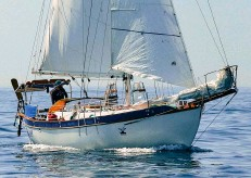 ??  ?? Jerome Rand's Mighty Sparrow is a 43-year-old long keel and heavy displacement Colin Archer-designed Westsail 32