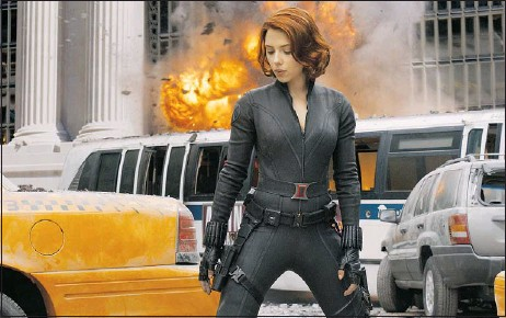 ?? — MCT ?? Scarlett Johansson stars as Black Widow in The Avengers, which opens today. The Black Widow teams up with Iron Man, The Hulk, Captain America, Hawkeye and Thor to stop evil Loki from conquering Earth.