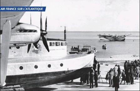 ?? DR/COLL. MUSÉE AIR FRANCE ?? Le Laté 521 assiste en spectateur à l'arrivée le 3 avril 1939 à Biscarosse du Boeing 314 Yankee Clipper venant des États-Unis. La maquette de l'hydravion transatlantique SE 200 définie en 1937 et passée en soufflerie en novembre 1938. Trois...