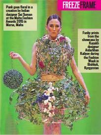 ??  ?? Punk goes floral in a creation by Indian designer Sai Suman at the Malta Fashion Awards 2015 in Marsa, Malta Funky prints from the showcase by Kazakh designer Aidarkhan Kaliyev during the Fashion Week in Bishkek, Kyrgyzstan
