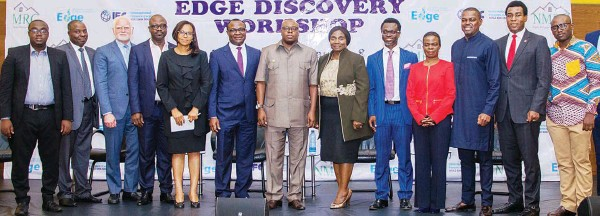??  ?? EDGE Coordinator, Green Building Certification, (SGS), Mr. Paul Ocran (left); Executive Secretary/ceo, MBAN), Mr. Kayode Omotoso; Chief Sustainability & Development Officer, Echostone Opco, LLC, Mr. Emmanuel Stefanakis; OFISD, CBN, Mr. Babatunde Adewumi; Head, Business Development, NMRC, Mrs. Dorothy Obata; Ag. MD/CEO, NMRC, Mr. Kehinde Ogundimu; Lagos Commissioner for Housing, Prince Gbolahan Lawal; Executive Director, Policy, Strategy, Partnership + Business Development, NMRC, Dr. Chii Akporji; President, MBAN/CE, Trustbond Mortgage Bank, Mr. Adeniyi Akinlusi; Mortgage/housing Finance Specialist Consultant to the NHFP, Mrs. Adenike Fasanya-osilaja; Chairman, Mortgage Warehouse Funding Limited, Mr. Sonnie Ayere; MD/CEO, Homebase Mortgage Bank, Dr. Femi Johnson and Ghana Green Building Program Lead, IFC, Mr. Dennis Quansah during NMRC-IFC EDGE Discovery workshop in Lagos