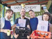 ??  ?? WASTE-FREE QUEST: Yackandandah's Saint Monday Cafe owner Chris McGorlick (left) with Kim Marshall, Nik Hazeleger and Clare Bird with re-usable mugs at the Yackandandah Folk Festival