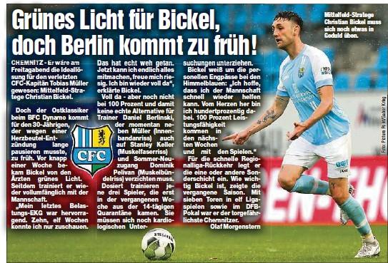 ?? ?? Mittelfeld-Stratege Christian Bickel muss sich noch etwas in Geduld üben.