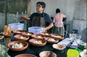 ??  ?? This page, top: Anumitra Ghosh of Edible Archives prepares rice bowls for lunch service. Rare varieties of rice from remote areas of Bihar, Jharkhand, Bengal and Kerala, created a simple fine cuisine curated by four women chefs thinking about the politics of food.