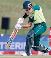 ?? (AFP) ?? Pakistan's captain Babar Azam plays a shot during the fourth T20I match against South Africa at SuperSport Park in Centurion on Friday