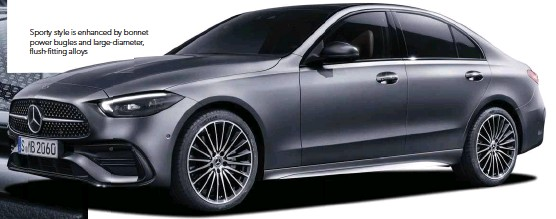 ??  ?? Sporty style is enhanced by bonnet power bugles and large-diameter, flush-fitting alloys