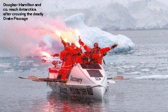 ??  ?? Douglas-Hamilton and co. reach Antarctica after crossing the deadly Drake Passage