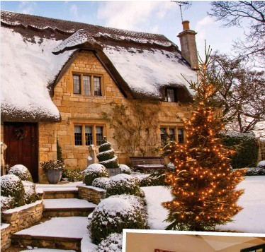 ??  ?? All white: A snowy Cotswolds cot­tage and, in­set, High Hall in Yorkshire