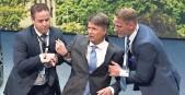 "?? JENS MEYER, AP ?? BMW CEO Harald Krueger, center, experienced ""a moment of dizziness."""