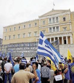 ?? Ansa ?? In piazza Una manifestazione ad Atene e il premier Alexis Tsipras