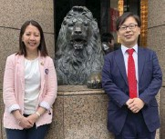 ??  ?? Federal Land project director Sophia A. Nuñez and Isetan Mitsukoshi GM for overseas division Daisuke Kobayashi by the lion sculpture in Mitsukoshi Nihombashi