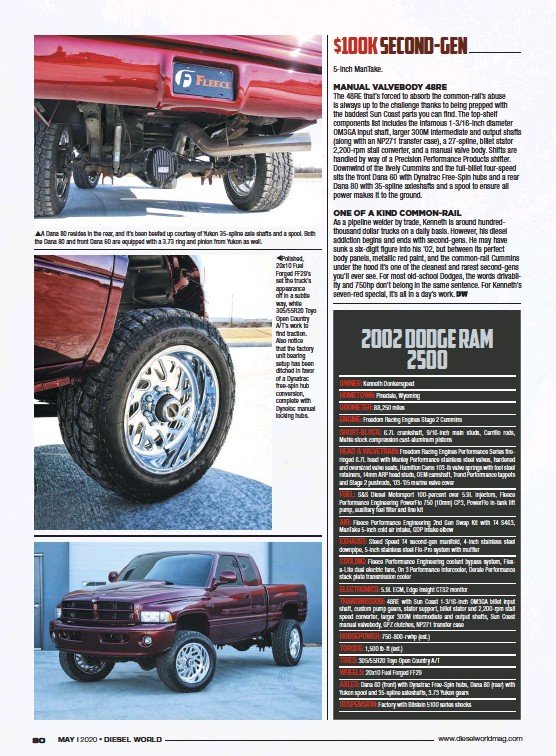 ??  ?? A Dana 80 resides in the rear, and it's been beefed up courtesy of Yukon 35-spline axle shafts and a spool. Both the Dana 80 and front Dana 60 are equipped with a 3.73 ring and pinion from Yukon as well. Polished, 20x10 Fuel Forged FF29'S set the truck's appearance off in a subtle way, while 305/55R20 Toyo Open Country A/T'S work to find traction. Also notice that the factory unit bearing setup has been ditched in favor of a Dynatrac free-spin hub conversion, complete with Dynoloc manual locking hubs.