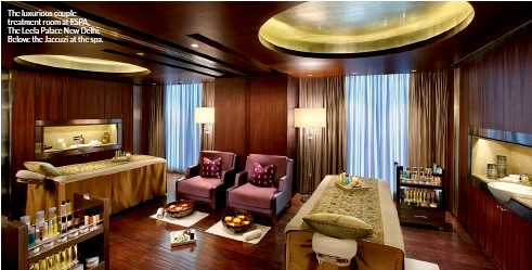 ??  ?? The luxurious couple treatment room at ESPA, The Leela Palace New Delhi. Below: the Jaccuzi at the spa.