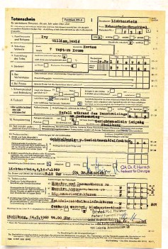 ??  ?? DEATH CERTIFICATE Bill Ivy's death certificate, with time of death given as 10:30am, 45 minutes after the accident. Causes of death were a basal skull fracture and a massive rupture of the right lung.