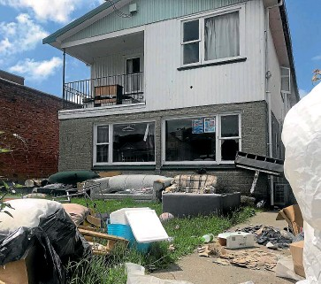 ??  ?? The ''party flat'' in Dunedin's Castle St North where about $34,000 worth of damage was caused.