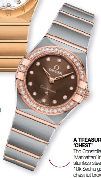 ??  ?? A TREASURE 'CHEST' The Constellation 'Manhattan' in stainless steel and 18k Sedna gold with chestnut brown dial