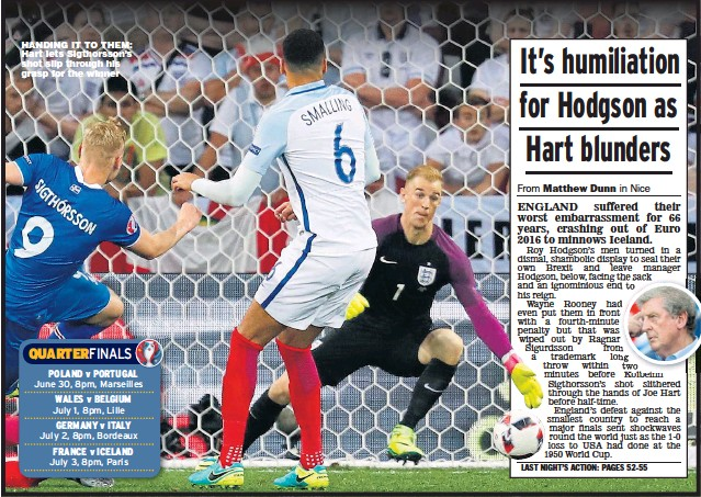 ??  ?? HANDING IT TO THEM: Hart lets Sigthorsson's shot slip through his grasp for the winner