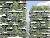 """?? Picture: Boeristudio/PA. ?? An artist's impression of plant-covered high-rise city blocks as future """"green"""" cities could resemble fairylands filled with radiant buildings and glowing trees, a report says."""
