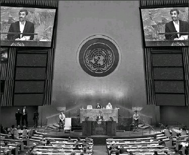?? DANIEL ACKER, BLOOMBERG ?? Iranian President Mahmoud Ahmadinejad speaks before the UN General Assembly after Canadian delegates led a boycott of his address.