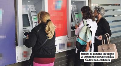 ??  ?? Usluga za zamenu ukradene ili izgubljene kartice skočila sa 300 na 500 dinara