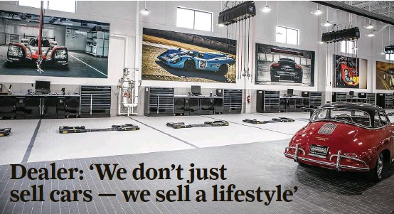 ?? Michael Starghill Jr. photos ?? The new Porsche North Houston will include two stories of showrooms and an air-conditioned, 26-station service shop that more resembles a hospital than a garage.