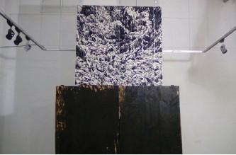 ?? (Hagay Hacohen) ?? 'BALAD AISTIWAYIYA JAMILA' (Green on Blue) by Mati Harel. Right, 'Realization' by Orit Hofshi.