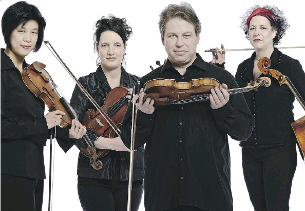 ??  ?? The Bozzini String Quartet, featuring Alissa Cheung, Stephanie Bozzini, Clemens Merkel and Isabelle Bozzini, has a repertoire that includes everything from convention­al string-quartet music to new and more radical corners of classic music. The Now Hear...