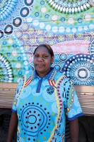 ?? Photograph: Mark Fitz ?? 'My heart was beating so fast,' Chantelle Mulladad says of seeing her artwork on the Ghan for the first time.