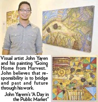 """??  ?? Visual artist John Yayen and his painting """"Going Home from Harvest."""" John believes that responsibility is to bridge and past and future through his work. John Yayem's """"A Day inthe Public Market"""""""