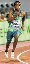 ??  ?? Clarence Munyai, holder of the 19.69sec SA 200m record, is likely to compete.