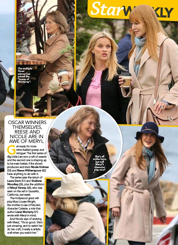 """??  ?? The multiple Oscar winner has joined the """"mums of Monterey"""".She's all smiles here, but will Meryl's character play nice?"""