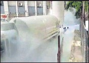 ?? PTI ?? Medical oxygen leaks out from a storage unit at a hospital in Nashik on Wednesday.