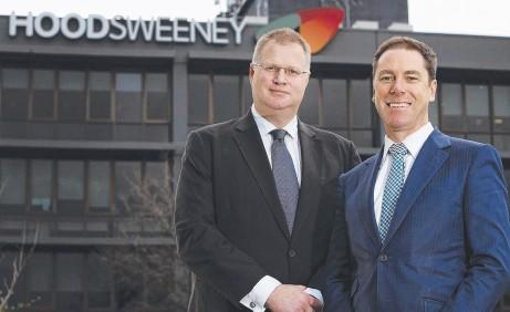 ?? Picture: BIANCA DE MARCHI ?? CHANGE: Hood Sweeney managing director Matthew Rowe, left, is handing over to Chris Stewart.