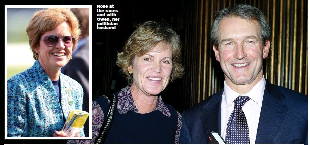 ?? Pic­tures: PA, REX ?? Rose at the races and with Owen, her politi­cian hus­band