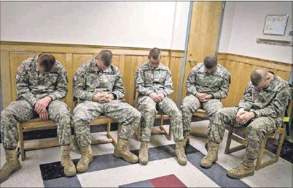 ?? Photo: Kayana Szymczak/the Boston Globe/getty Images ?? War ready: First-year recruits at Norwich University, the military college in Vermont, United States, train in transcendental meditation. The goal of the training is to provide coping tools before going into combat and to prevent post-traumatic stress disorder.
