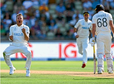 ?? GETTY IMAGES ?? Paceman Neil Wagner celebrates the removal of England batsman Dan Lawrence at Edgbaston.