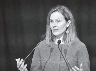 """?? TIMOTHY D. EASLEY/ASSOCIATED PRESS ?? Supreme Court Justice Amy Coney Barrett speaks at the University of Louisville Mcconnell Center on Sunday, telling the audience that """"this court is not comprised of a bunch of partisan hacks."""""""