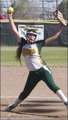 ??  ?? Holtville High's Zamara Gutierrez delivers for the Vikings during their home game on Monday afternoon. KARINA LOPEZ PHOTO