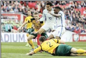 ?? PICTURE: REUTERS ?? COMEBACK: England's Jermain Defoe scores their first goal against Lithuania at Wembley Stadium.