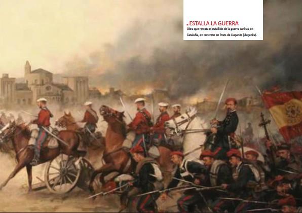 ??  ?? ESTALLA LA GUERRA Obra que retrata el estallido de la guerra carlista en Cataluña, en concreto en Prats de Lluçanès (Lluçanès).