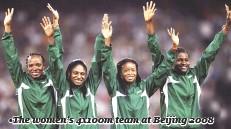 ??  ?? •The women's 4x100m team at Beijing 2008