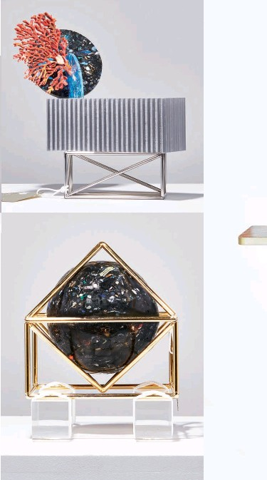 ??  ?? The Gyrecraft series transforms waste plastic removed from oceans into beautiful new objects. The plastic was melted down with a portable solar extruder and combined with other found materials, including green abalone shell, brass and rope.