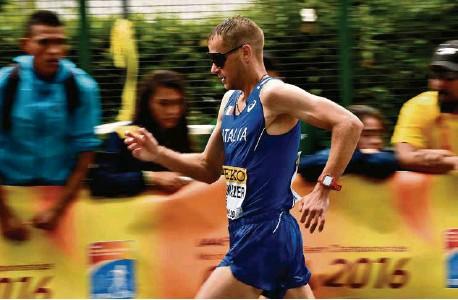 ?? (TULLIO PUGLIA/GETTY IMAGES) ?? L'athlète lors du 50 km marche de Rome, en mai 2016, alors qu'il n'avait pas encore été signalé positif à un contrôle antidopage effectué en janvier.